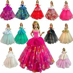 BARWA Lot 7 Pcs Doll Dresses Handmade Fashion Wedding Party