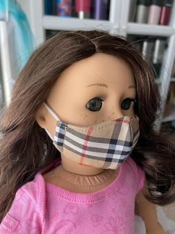 """Doll Face Mask for 18"""" American Girl doll, Burberry Print,"""