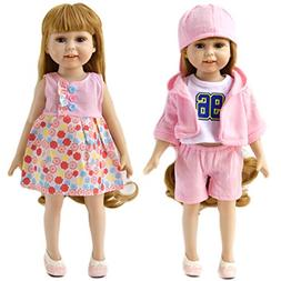 HiPlay 18 Inch Doll Clothes Fits American Girl Dolls -7 Pcs