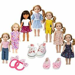 WYHTOYS 7PCS Doll Clothes and 2pcs Shoes fits 14 inch 14.5in