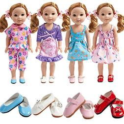 TOYYSB 4pcs Doll Clothes and 4pcs Shoes fits 14 inch 14.5 In
