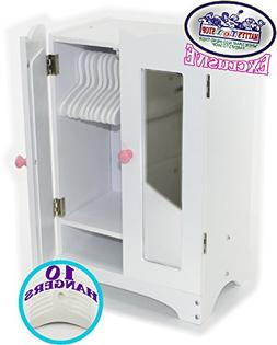 Matty's Toy Stop 18 Inch Doll Furniture White Wooden Armoire