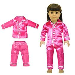 Doll Clothes - Pink Satin PJ's Pajama Set Outfit Fits Americ