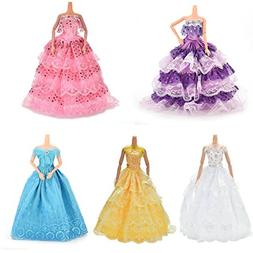 buytra 5 Pack Doll Accessories Handmade Fashion Party Gown W