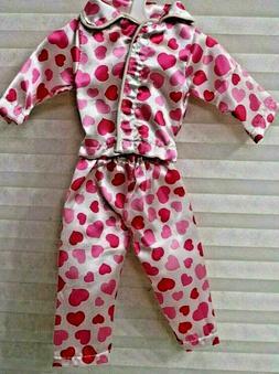 American Fashion World Doll Heart Covered Pajamas 2 piece Ne