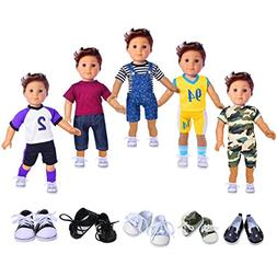 ebuddy Boy Doll Clothes Include 5 Outfits and 2 Pairs Shoes
