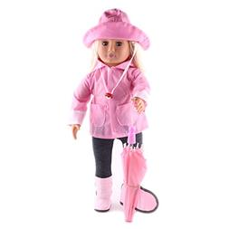 ZWSISU Doll Clothes Light Pink Rain Outfits Accessories for