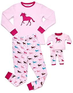 4 Piece Child and Doll Matching Pajamas, Pink Horse, 6 years