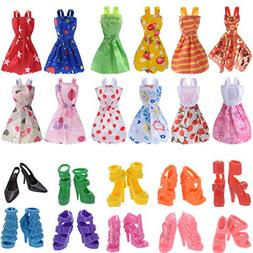 Doll Accessories 12 Pcs Mixed Doll Clothes Dress and 10 Pair