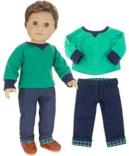 Sophia's 18 Inch Boy Doll Outfit Only 2 Pc. Green Shirt & Fl
