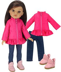 14 inch doll clothes Outfit by Sophia's   Hot Pink Puffy Coa
