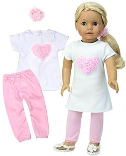 18 Inch Doll Outfit, White Short Sleeve Heart T, Light Pink