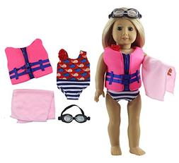 HongShun Fashion Doll Clothes 4 PCS Outfit Swimsuit+life jac