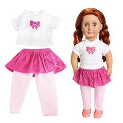 Pack of 1 Doll Clothes Outfit T-shirt and Short Skirt Adorab