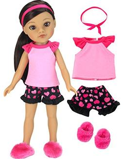 14 Inch Doll Pajamas by Sophia's | Complete Black & Pink Hea