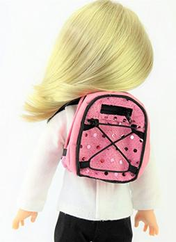 14.5 INCH DOLL: Pink Sequin Backpack for 14-inch Dolls - Fit