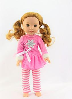 14.5 INCH DOLL: Pink Snowflake Pant Set for 14-inch Dolls -