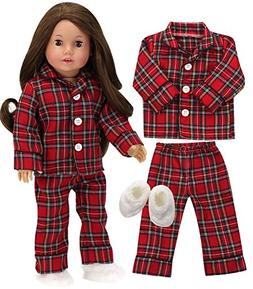 Sophia's 18 Inch Doll PJs for Boy or Girl Red Flannel Pajama