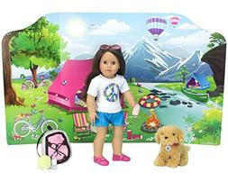18 Inch Doll Playscene, Reversible Camping and Fashion Runwa