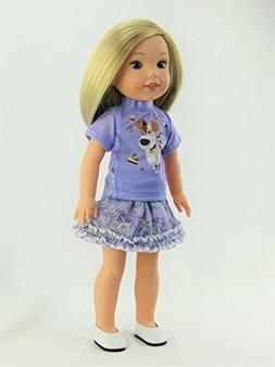 14.5 INCH DOLL: Purple Pets Inspired Skirt Outfit - Fits 14