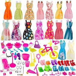 BeYumi 130 Pcs Doll Clothes Set for Barbie Dolls Include Ran