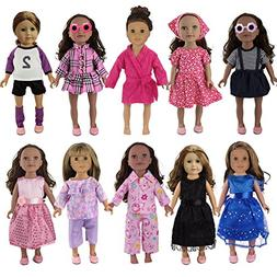 BeYumi 13 Pcs Doll Clothes Set – 10 Different Styles Outfi