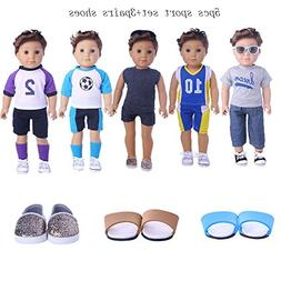 ZWSISU Boy Doll Clothes Set,5sets sport+3pairs shoes Fits 18