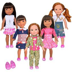 ibayda 5pcs Doll clothes Set + 1pcs Shoes for American Girl