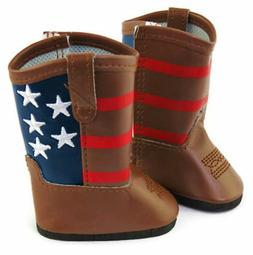 Doll Shoes for American Girl Doll Clothes-Patriotic Brown We