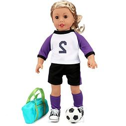 18 Inch Doll Clothes Soccer Uniform with Soccer Ball for Ame