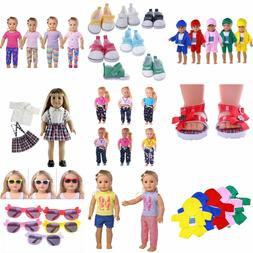Doll Summer T-shirt Pants Shoes Dress Accessories For 18inch