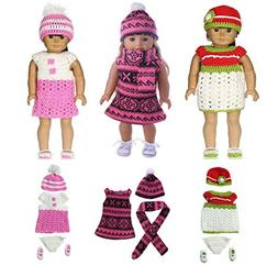 DENA Toys Doll Clothes Sweater Dress - 3 Set Hand Knitted Wi