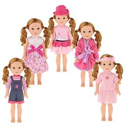 "5PCS Doll Clothes Wardrobe Makeover Fits for 14"" 14.5"" Ameri"