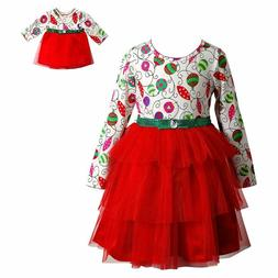 Dollie Me Girl 4 14 and Doll Matching Christmas Dress Clothe
