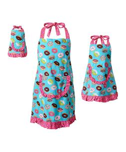 Dollie Me Girl Mommy and Doll Matching Doughnut Apron Clothe