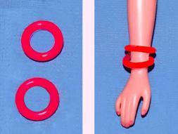 """Dreamz RED BRACELET BANGLES SET of 2 made for 11"""" Barbie Dol"""