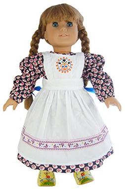 "Dress, Apron, & Hair Ribbons for 18"" American Girl Pioneer D"