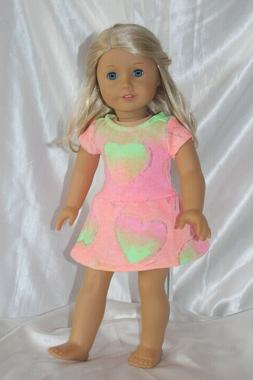Dress fits 18inch American Girl Doll Clothes Hearts Tie Dye