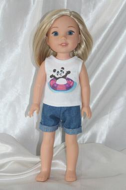 """Debs 2pc Distressed JEANS w//Heart Shirt-TOP Doll Clothes For 18/"""" American Girl"""