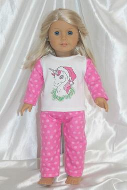 Dress Pajamas fits 18inch American Girl Doll Clothes Unicorn