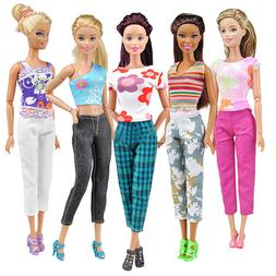 DV_ 5 Set Fashion Doll Clothes Handmade Summer Tops Pants Ou