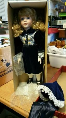 Dynasty Dolls Porcelain Doll Blue Dress with Bonnet New