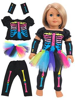 "Electric Neon Skeleton Girl Halloween Costume | Fits 18"" Ame"