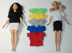 Fashion Doll Solid Plain Color T Shirt ~ Clothes for Barbie