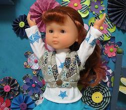 "Fits 13"" Les Cheries Corolle Doll ..Gray Heart Knit Vest..."