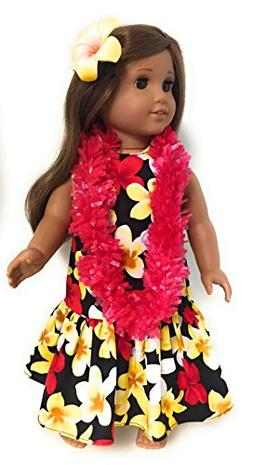 "18"" Doll Clothes Fits American Girl Doll Black Hawaiian Dres"