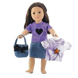 """Fits American Girl Dolls 18"""" Denim Skirt Outfit - 18 Inch Do"""