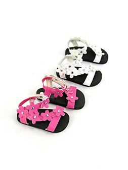 "2 pack of flower power sandals: pink and white| Fits 18"" Ame"