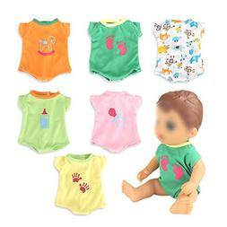 dd7507e388887 WakaoFeeling 6 Pack Fun Outfits Baby Doll Clothes for 12 Inc