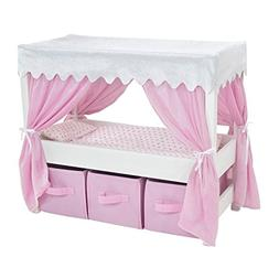 18 Inch Doll Furniture | Lovely Pink and White Canopy Bed wi
